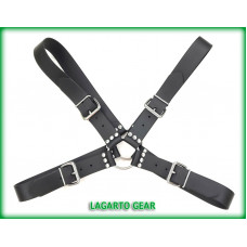 GatorStrap™ X-Chest Harness BLACK with 4 buckles 1.5 inch wide strap