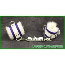 Buffalo hide wrist cuffs with sheep wool liner