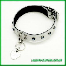 1 Inch Latigo Collar with Deerskin Liner, front D-Ring, Buckle