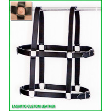 H-Shape Chap Leather Torso Harness/Belt 4-buckle