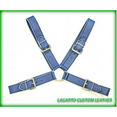 X-Shape Chap Leather Chest Harness with 4 Buckles