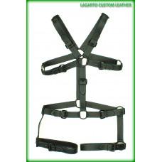 X-Shape Chap Leather Torso+ Legs Harness/Belt 9-buckle