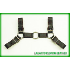 Bulldog style Chap Leather Chest Harness 4-buckle 6-Ring