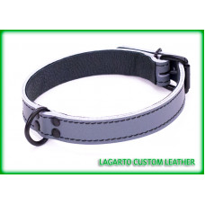 1 Inch Chap Collar, Stitched, Lined, front D-Ring, Buckle