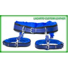 Fur lined: garter belt + thigh cuffs + 4 connectors