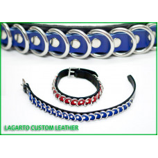 1 inch plus 5/8 inch Two Strap Latigo Collar with 20 rings